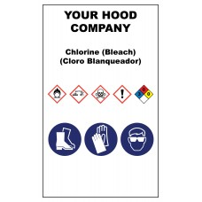 Chlorine Bleach Hazardous Material Sticker (3 x 5)