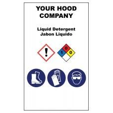Liquid Detergent Hazardous Material Sticker (3 x 5)