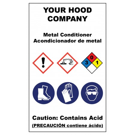 Metal Conditioner Hazardous Material Sticker (3 x 5)