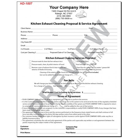 HD-1007 Kitchen Exhaust Cleaning Proposal & Service Agreement
